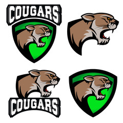 cougars.  sport team logo template.