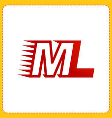 ML Two letter composition for initial, logo or signature