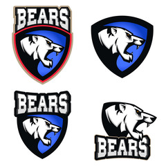White bear illustration. Angry bears, sport club or team emblem