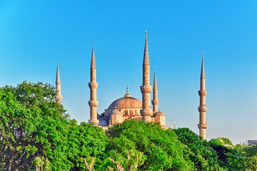 ISTAMBUL,TURKEY-MAY 07,2016:Beautiful Sultan Ahmed Mosque is a h