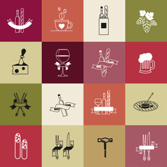 Set of vector icons. BBQ, cheese, wine glass, wine bottle, fork, corkscrew, sausage, hops, beer, coffee, French baguette.