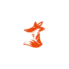 Fox isolated design logo. Orange fox.Beauty modern icon. Vector stylized fox vector illustration. New style logotype. Simple business sign. Company symbol. Logo organization. Сute fox logo. Red color.