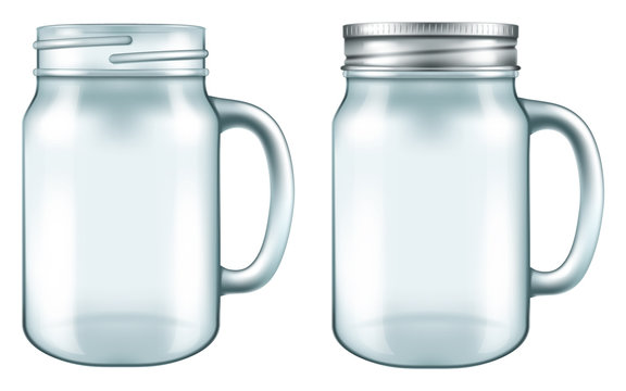 Mason jar mug in two versions - with and without the lid. Vector illustration.