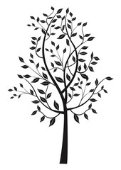 Black leafy tree silhouette.