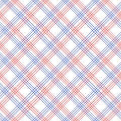 Red and blue checkered colorful seamless pattern, vector