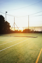 Empty soccer field during sunset