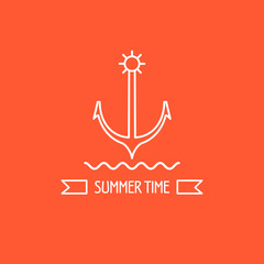 Summer. Anchor. The emblem of sea travel. Ribbon with the inscription summer time