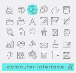 Set of computer interface icons. Line icons for web and communication technology. Collection of premium quality linear icons.