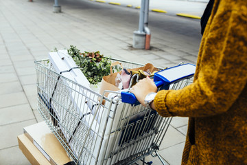Midsection of young woman pushing trolley full of purchases in car park