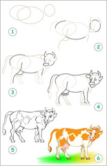 Page shows how to learn step by step to draw a cow. Developing children skills for drawing and coloring. Vector image.