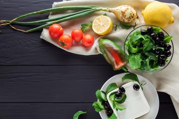 Ingredients for cooking Greek salad. Copyspace