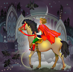 Young prince riding on a horse in wonderland. Illustration drawing on computer.