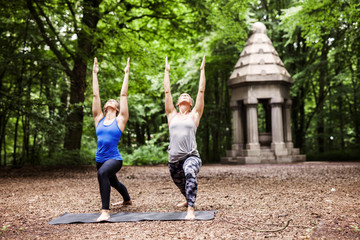Full length of young women practicing yoga at park