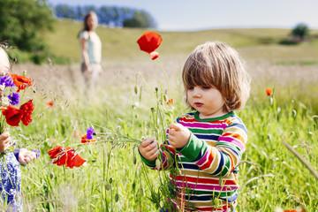 Cute girl holding poppy flowers at grassy field