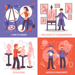 Artists Design Concept Icons Set