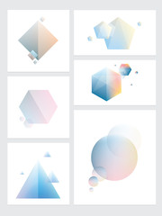 Set of abstract colorful futuristic geometric element designs in polygonal, cubic, triangular and circular shapes