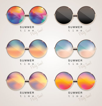 Set of colorful sunglasses with abstract gradient mesh glass mirrors isolated on light background with summer time, party time lettering typography