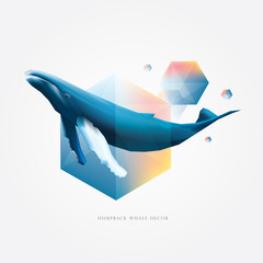 Colorful vibrant geometric polygonal design elements with Humpback whale decoration