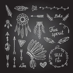 Boho style elements. Tribal designs: feather, wreaths, arrows and dreamcatcher