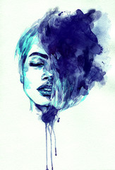 Deurstickers Aquarel Gezicht beautiful woman face. abstract watercolor. fashion illustration