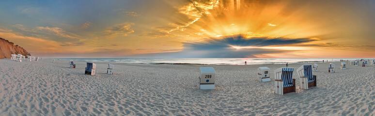 Fototapete - Sylt Kampen rotes KLiff Panorama Sonnenuntergang