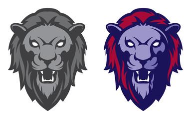 Roaring lion head mascot. Label, logotype.