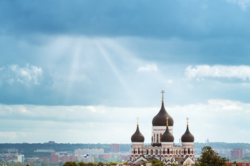 Wall Mural - Old Tallinn. Estonia. View to Orthodox church Alexander Nevsky from Oleviste church in summer