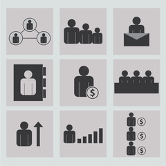 Human resources and management icons set.Business and office people, vector icons set