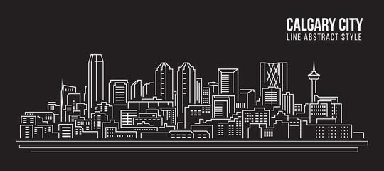 Cityscape Building Line art Vector Illustration design - Calgary city