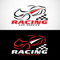 Red Black and white Racing car service logo vector design