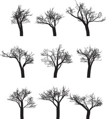 Set of nine silhouettes of trees