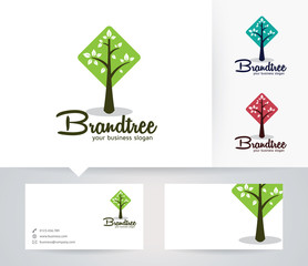 Brand Tree vector logo with alternative colors and business card template