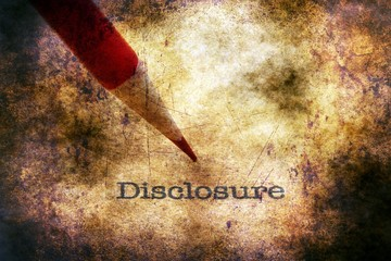 Disclosure text on grunge background