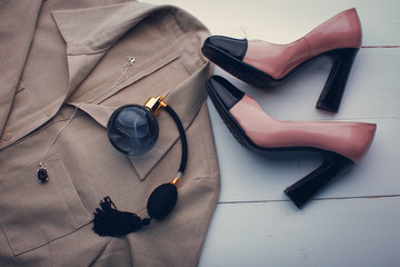 Women's accessories. shoes, blouse and perfume