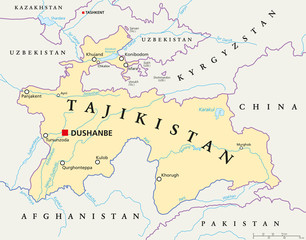 Kyrgyzstan political map with capital Bishkek national borders