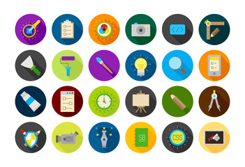 Set of 24 Graphic design round vector icons