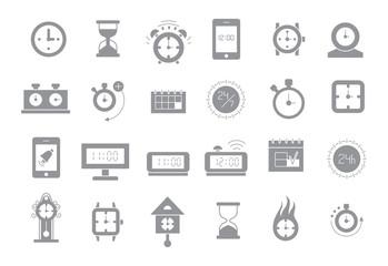 Clocks gray vector icons set