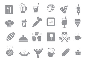 Diner gray vector icons set