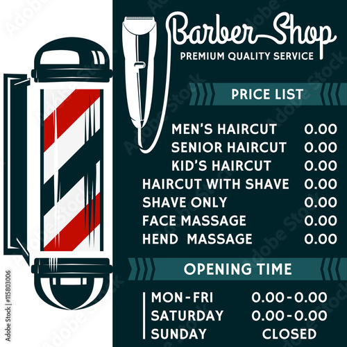 Barber Shop Vector Price List Template Haircut And Shave Retro