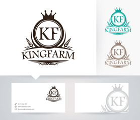 King Farm vector logo with alternative colors and business card template