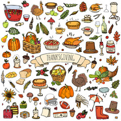 Hand drawn doodle Thanksgiving icons set Vector illustration autumn symbols collection Cartoon various celebration elements: turkey, hat, cranberry, vegetables, pumpkin pie, leaves