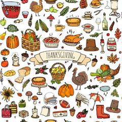 Seamless background. Hand drawn doodle Thanksgiving icons. Vector illustration autumn symbols collection. Cartoon various celebration elements: turkey, hat, cranberry, vegetables, pumpkin pie, leaves