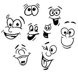 Hand drawn Emotional happy Cartoon Faces
