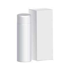 packaging for shampoo, white bottle , a white box with reflection for your design