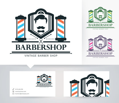 Mr. Babershop vector logo with alternative colors and business card template