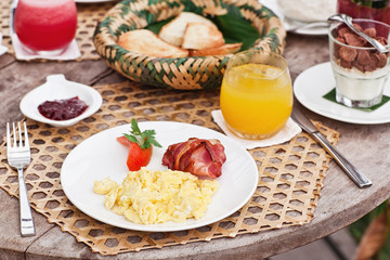 Healthy yummy breakfast with a beautiful view in hotel. Bali resort. Morning mood