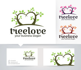 Tree Love vector logo with alternative colors and business card template