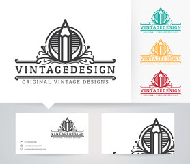 Vintage Design vector logo with alternative colors and business card template