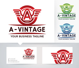 Vintage Letter A vector logo with alternative colors and business card template