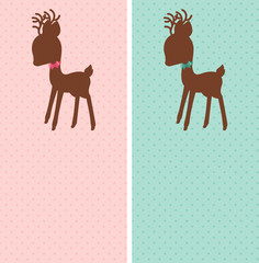 Baby deer pink and blue dotted cards